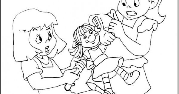 Dibujo De Niños Peleando Para Colorear