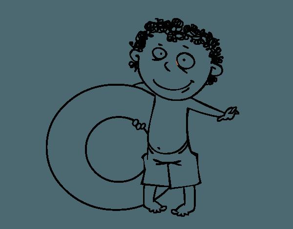 Dibujo De Niño Con Flotador Para Colorear