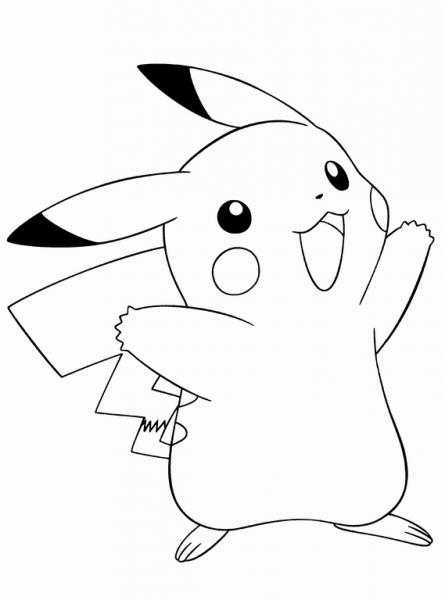 Dibujo Para Imprimir Y Colorear De Pikachu, El Pokemon De Ash