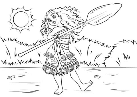 Dibujo De Princesa Moana (vaiana) Waialiki Para Colorear