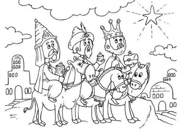 Los Tres Reyes Magos Para Colorear