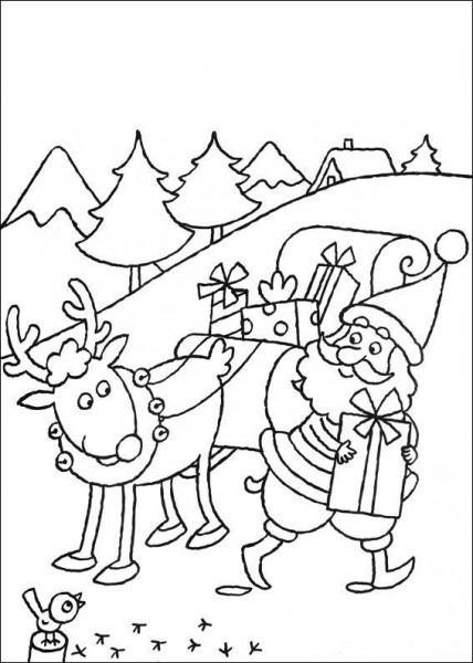 Dibujo Para Colorear Santa Claus Y Su Trineo