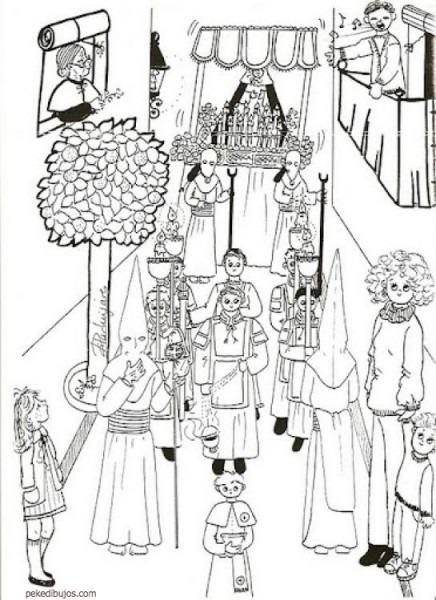 Dibujos De Procesiones De Semana Santa Para Colorear