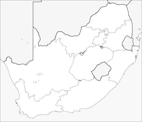 Dibujo De Mapa De Sudáfrica Para Colorear