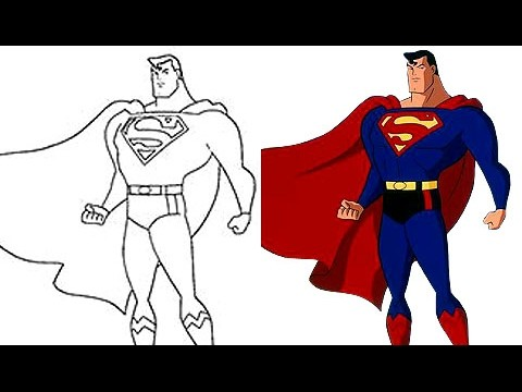 Super Man Pintando Dibujos Animados