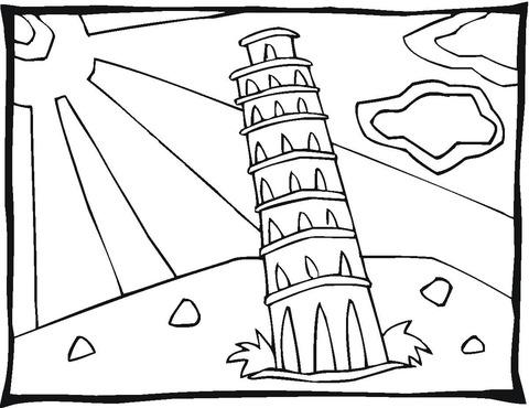 Dibujo De Torre De Pisa Para Colorear