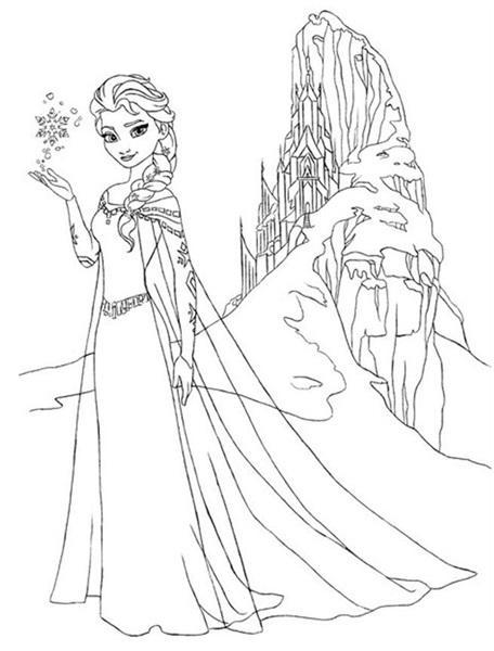 Dibujos Para Colorear Frozen Elsa Con Su Castillo
