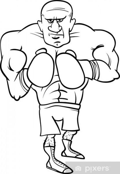 Vinilo Pixerstick Boxeador Página Para Colorear De Dibujos