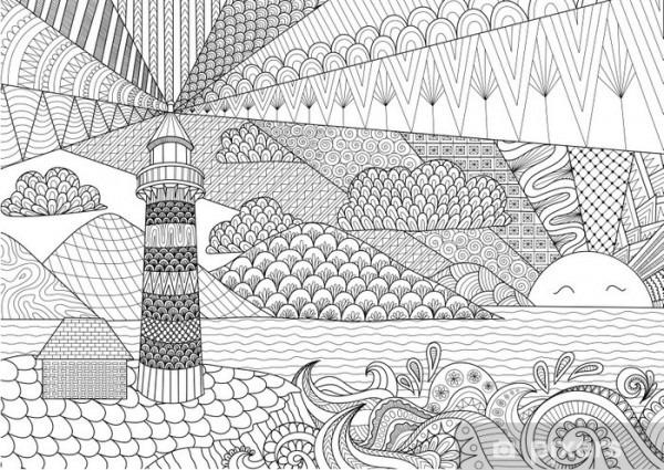 Vinilo Pixerstick El Diseño Del Arte Del Paisaje Marino Por Línea
