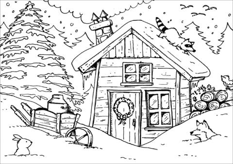 Dibujo De Cabaña De Invierno Para Colorear