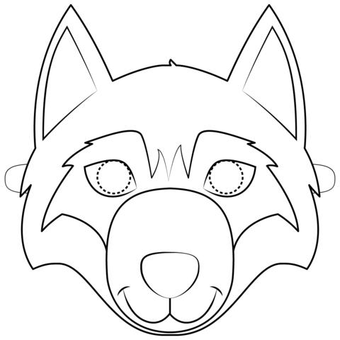 Dibujo De Máscara De Lobo Para Colorear