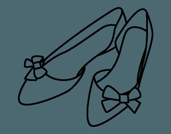 Dibujo De Zapatos Con Lazos Para Colorear