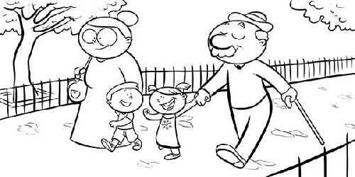 Resultado De Imagen De Dibujo Colorear Familia Abuelos