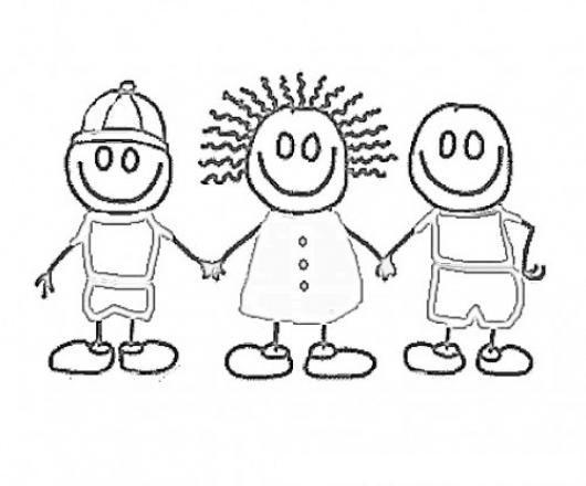 Dibujo De 3 Ninos Amigos Tomados De Las Manos Para Pintar Y
