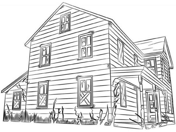 Casas De Madera Para Colorear