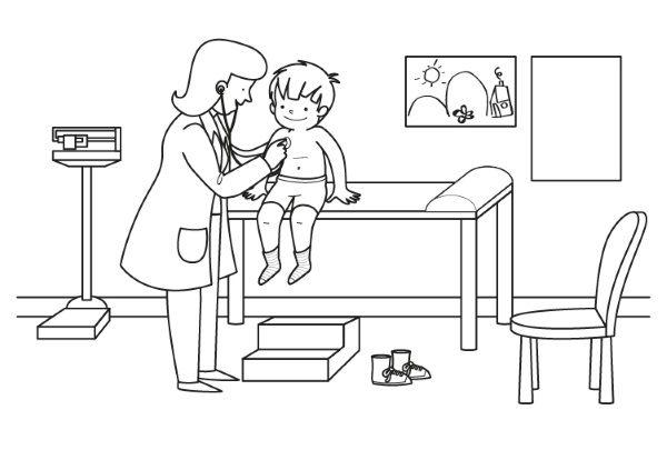 Consulta Del Médico  Dibujo Para Colorear E Imprimir