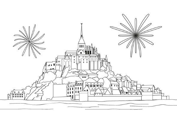 Mont Saint Michel  Dibujo Para Colorear E Imprimir