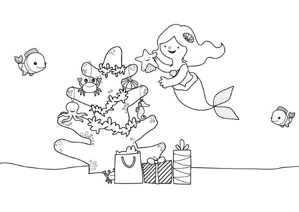 La Sirenita Y Su árbol De Navidad  Dibujo Para Colorear E Imprimir