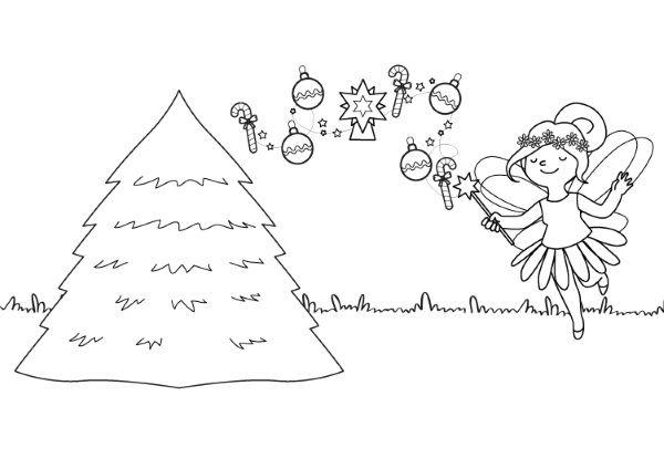 El Hada Y Su árbol De Navidad  Dibujo Para Colorear E Imprimir