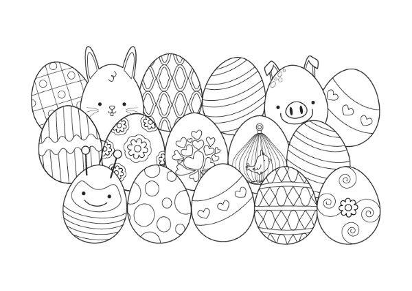 Conejo De Pascua Escondido  Dibujo Para Colorear E Imprimir