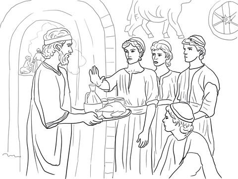 Dibujo De Daniel Elige Bien Y Rechaza Los Alimentos Del Rey Para