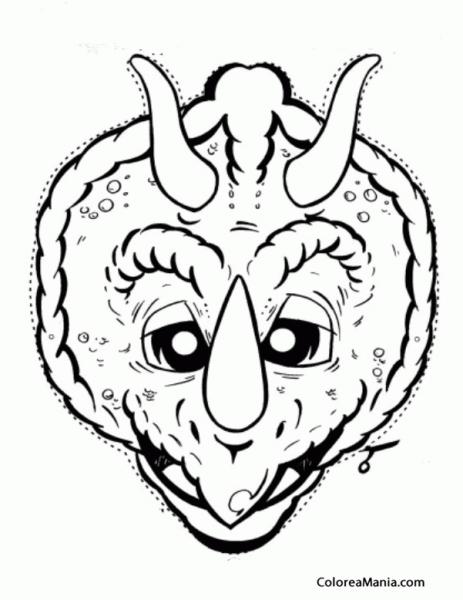 Colorear Careta Dinosaurio (máscara  Careta  Antifaz ), Dibujo