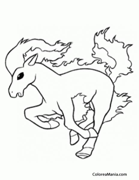 Colorear Ponyta (pokemon), Dibujo Para Colorear Gratis