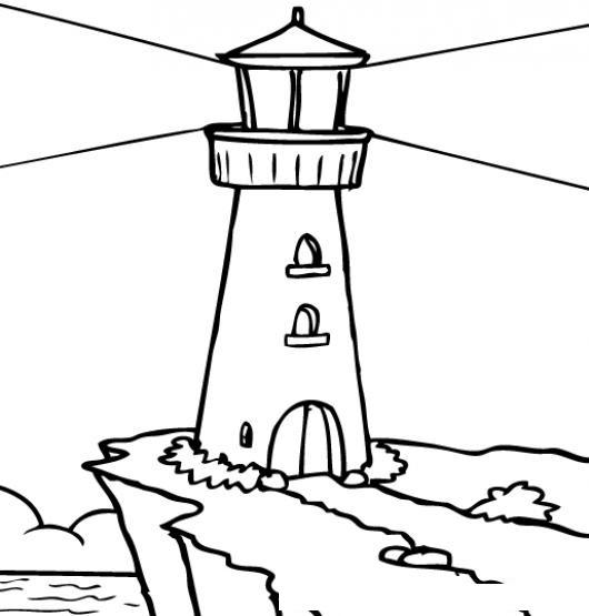 Faro De Luz Para Pintar Y Colorear Un Faro De Mar