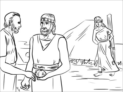 Dibujo De Hosea Coge A Gomer Del Mercado De Esclavos Para Colorear