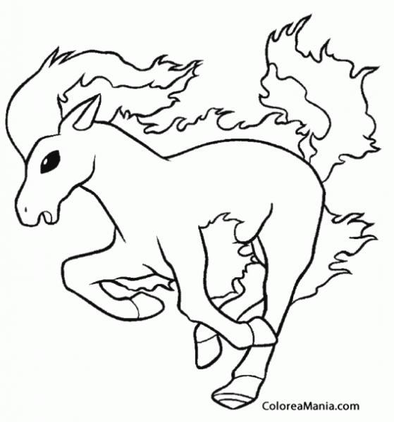 Colorear Ponyta 3 (pokemon), Dibujo Para Colorear Gratis