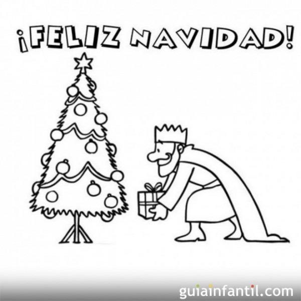 Postal De Navidad Con Rey Mago Para Colorear