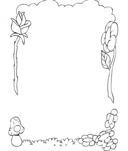 Colorea Tus Dibujos  Borde De Flores, Rosa Y Hongo Para Colorear E