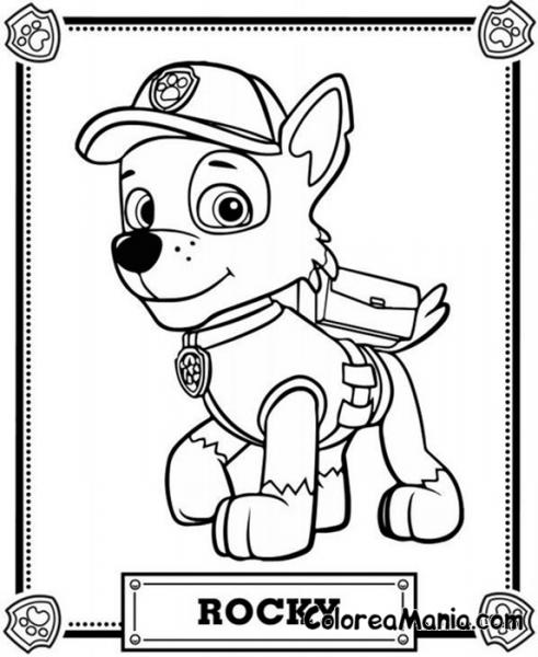 Colorear Rocky Con Su Nombre (patrulla Canina), Dibujo Para