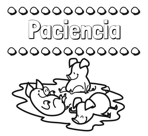 Nombre Paciencia  Dibujos Para Colorear  Nombres Y Los Tres Cerditos