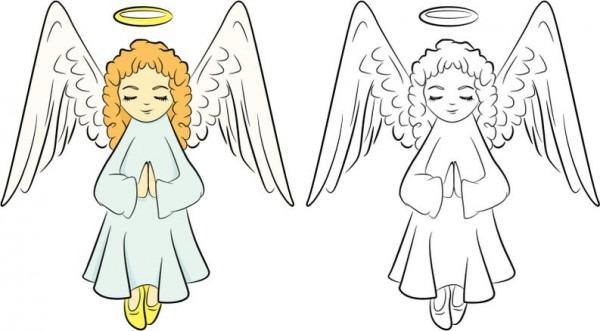 Angelitos De Navidad Para Colorear