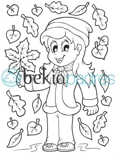 Niña En Otoño  Dibujo Para Colorear