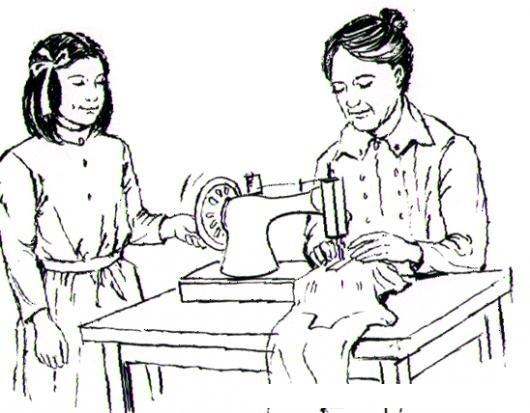 Dibujo De Mama Costurera Para Pintar Y Colorear Mujer Con Maquina