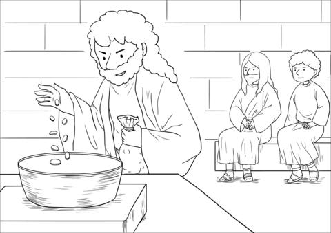 Dibujo De La Ofrenda De La Viuda (marcos, 12 41
