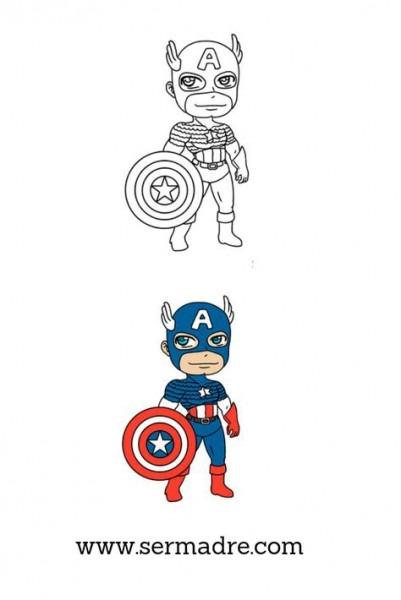 Dibujos Para Colorear Del Capitan America Para Niños  Estos Son