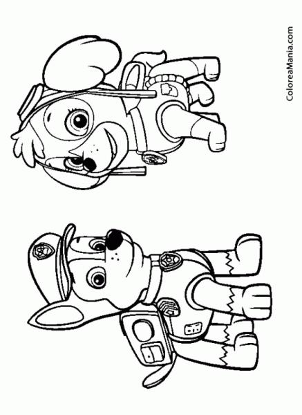 Colorear Skye Y Chase (patrulla Canina), Dibujo Para Colorear Gratis