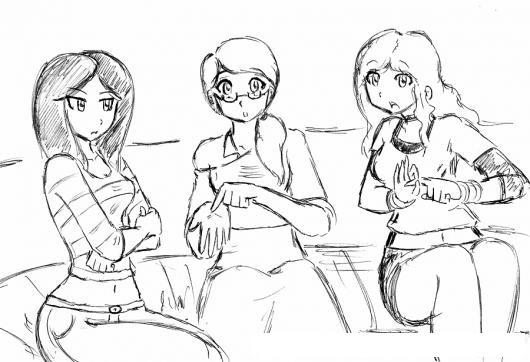 3 Mujeres Dibujo De Chicas Hablando De Sexo Para Pintar Y Colorear