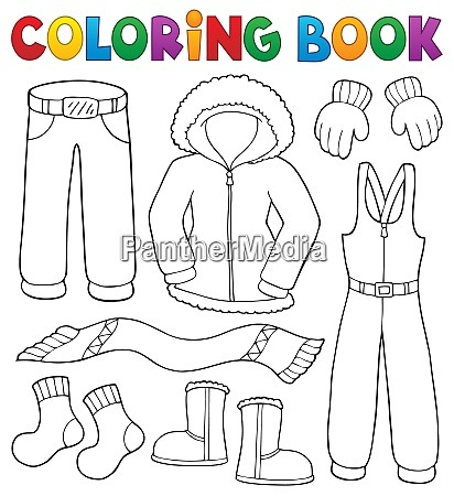 Libro De Colorear Ropa De Invierno Juego De Temas 1