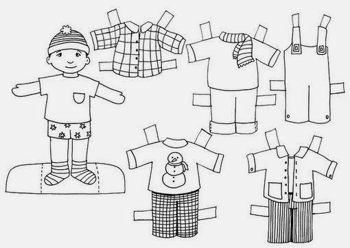 Educación Infantil  Fichas Para Colorear Prendas Y Recortables