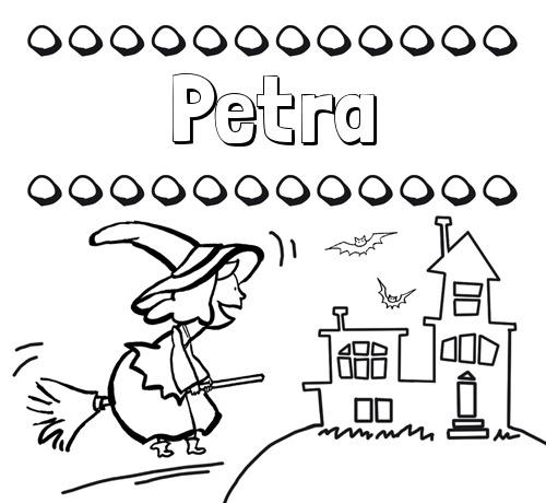 Nombre Petra  Colorear E Imprimir Nombres  Dibujo De Bruja