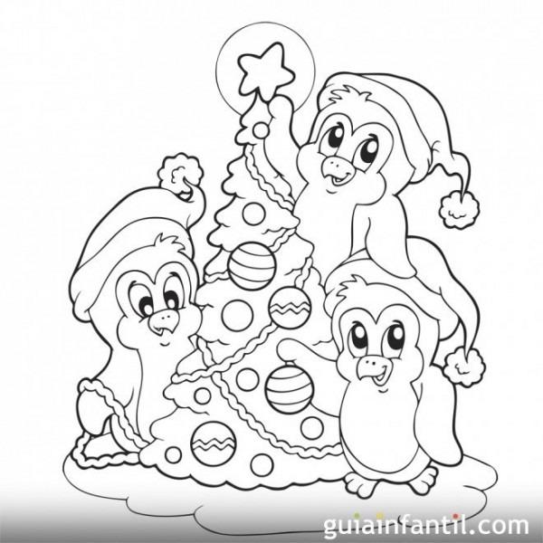 Dibujo Para Colorear  Árbol De Navidad Con Pingüinos