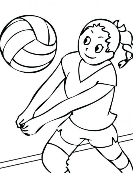 Voleibol Para Colorear Nina Jugando Al Voleibol Dibujo De Cancha