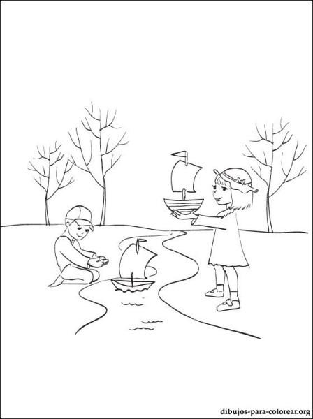 Dibujo De Los Niños Con Barquitos De Papel Para Imprimir