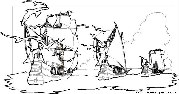 Los Tres Barcos De Cristobal Colon Para Colorear