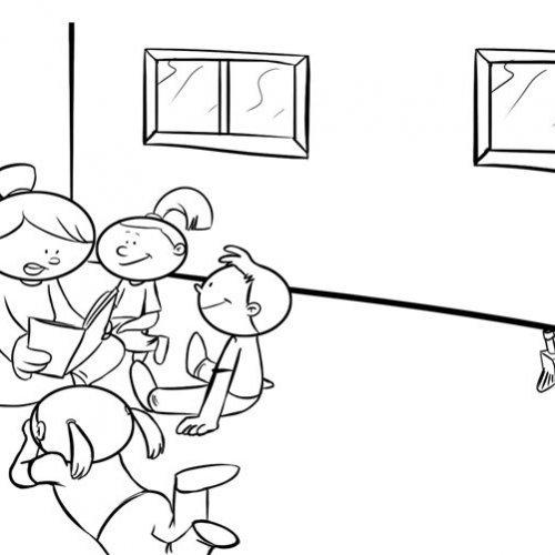 Dibujo Para Colorear O Pintar De Niños En Clase