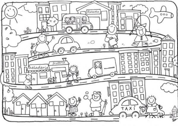 Dibujo De Un Paisaje Urbano Para Colorear